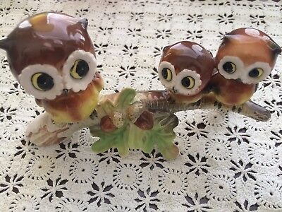Vintage Norcrest Ceramic Owls On A Branch Figurines