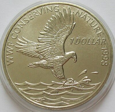 1998 Solomon Islands  1 Dollar Coin  Wwf  Conserving Nature  Fish Eagle