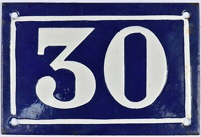 Old blue French house number 30 door gate plate plaque enamel steel sign c1950