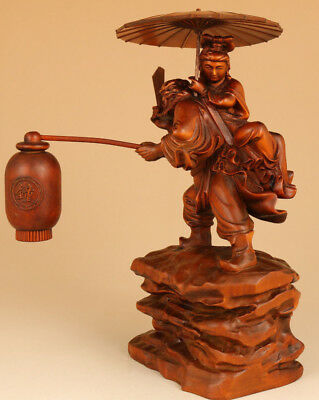 antique chinese old Boxwood Hand Carved Ghost Betroths His Sister big statue