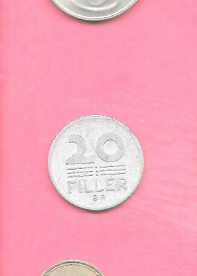 Hungary Hungarian Km573 1968 Vf-Very Fine-Nice Old Aluminum 20 Filler Coin