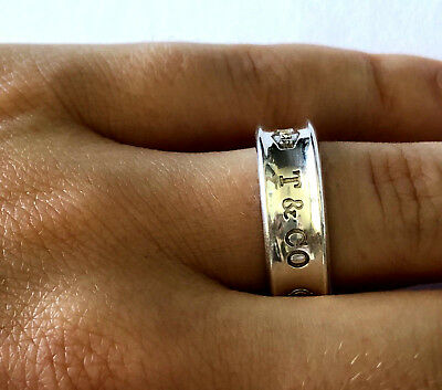 4e7fbf6ba Tiffany & Co 925 Sterling Silver 1837 Signed 1997 Concave Ring Band Sz 7.75
