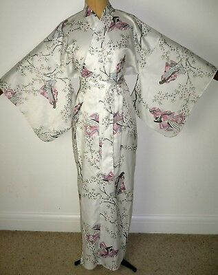 Rare Large Vintage Japanese, Kimono Style, Silky, Dressing Gown Robe - Blossom