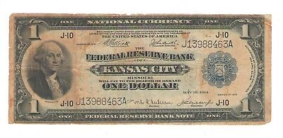 1918 National Currency  One Dollar, Federal Reserve of Kansas City, Missouri