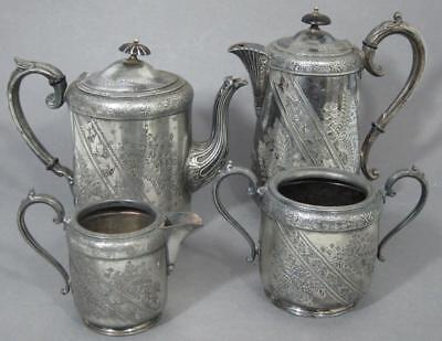 VICTORIAN ANTIQUE AESTHETIC MOVEMENT SILVER PLATED 4 PIECE TEA SET pot coffee