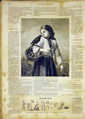 Original Old Antique Print Pears Girl Bouchee Dobson Fine Art French 1865 19th