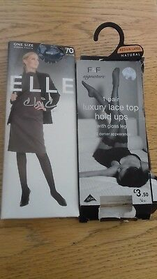 2 Pairs Of Hosiery, 1 Hold Ups F&f  Size M/l, 1 Navy Ribbed Tights Elle One Size