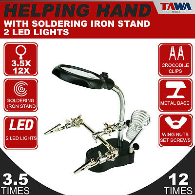 TAWA 2 LED lights Soldering Iron Stand  Magnifying Glass  Helping Hands