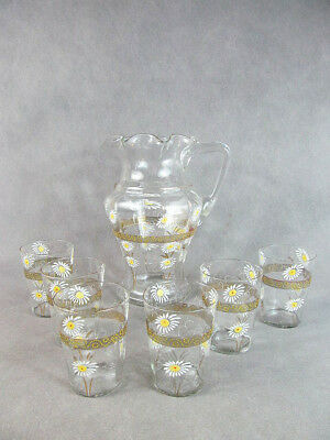 Early 1900s VICTORIAN 7 Pc WATER SET Pitcher+6 Tumblers Enamel DAISY Decoration