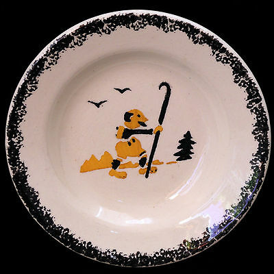 French Childs Plate CURIOUS RAMBLER Adventurer Free Spirit c1900 Faience Spatter