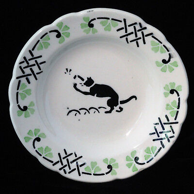 French Faience Childs Spatter Stencil Plate CAT & INSECT Choisy le Roi c1905