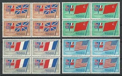 Togo 1960 Sc# 382-85 set Sammit of Four France GB USA Russia flags blocks 4 MNH