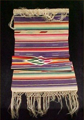 """Vintage Serape Saltillo Fringe MEXICAN Runner Wool Woven Rug Colorful 14x33"""""""