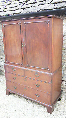 Vintage Antique 19th Cent Georgian Linen Press Wardrobe Large Drawer Shabby Chic