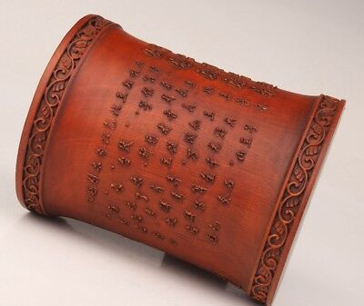 Valuable Chinese Boxwood Pen Holder Hand-Carved Text Bamboo Decorative Desktop