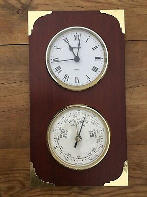 Staiger Marine / Ships Clock & Barometer On Solid Wood Mount