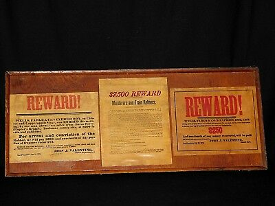 Vintage Wild West 3 Piece Reward Wanted Poster Display Wood Framed Picture Decor