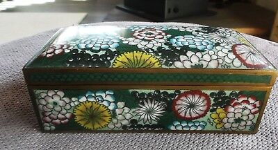 Antique Green floral geometric cloisonne over copper enamel Chinese trinket box