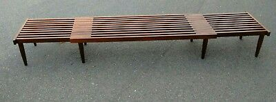 Expandable mid-century slat bench attributed to John Keal for Brown saltman