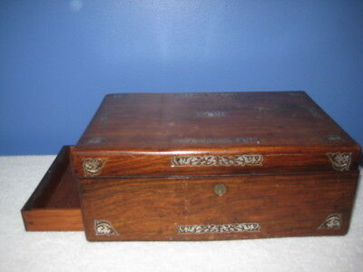 Antique Wooden Box with Inlay With Side Storage Drawer