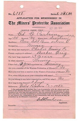 1914 Cripple Creek Colorado - Miners' Protective Association Membership Document