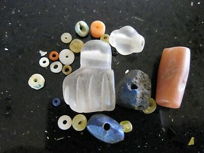 Ancient Roman Rock Crystal Quartz Amulet Hand Fist Agate Lapis Mix