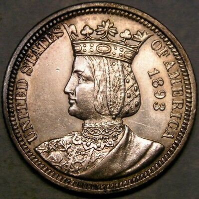 1893 W.c.e. Isabella Comm Silver Quarter Dollar Scarce With Crisp Sharp Features