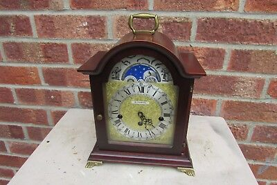 Hermle 8 Day Mahogany Bracket Clock with Westminster Chime and Moon Phase Featur