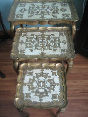 Mid Century Hollywood Regency Gold Plastic Gilt Florence Italy Nesting Tables