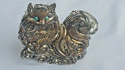 The Franklin Mint Curio Cabinet Art Nouveau Pewter Cat Figurine HTF Many Others