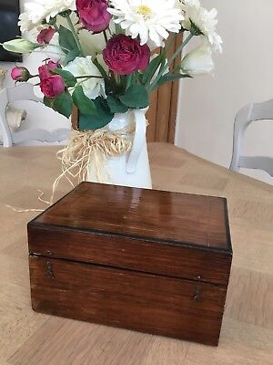 Antique Inlaid Mahogany Games Box With Gaming Counters And Cards