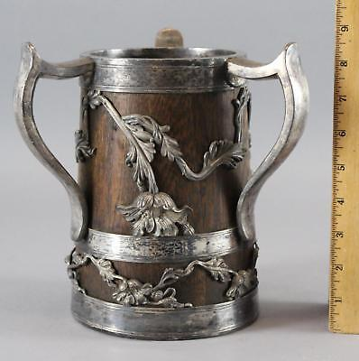 Large Antique, 19thC Silver Plate & Oak, 3-Handle Beer Stein or Trophy, NR