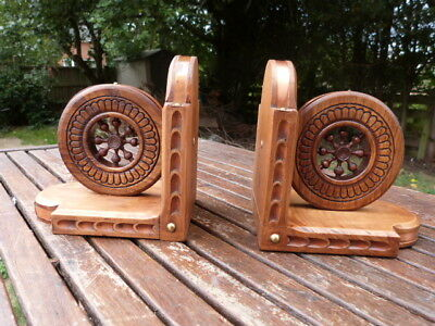 Lovely Vintage Pair Of French Hand Carved Wood & Copper Banded Bookends.
