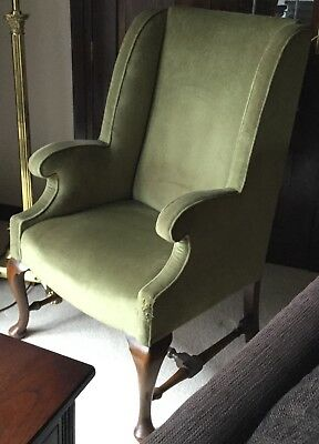 Antique George III Reproduction Green Armchair 1940's