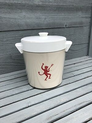Vintage Red Devil Ice Bucket Thermo Serv Bar Party Halloween