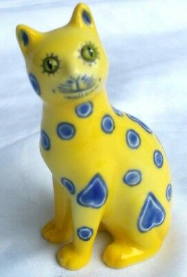 The Franklin Mint Curio Cabinet ~ Gorgeous Blue & Yellow Galle Cat~ Very HTF WOW