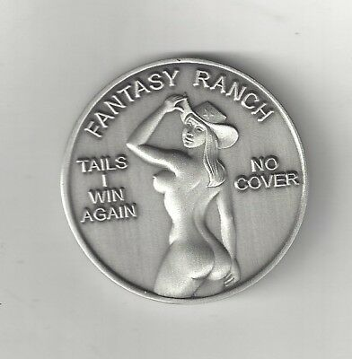 Busty Naked Lady Woman Girl Cowgirl Heads Tails Anodized Silver Coin Token Medal