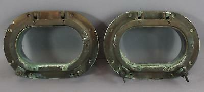 2 Small Oval Antique Maritime Salvage Bronze, Ships Portholes, NR