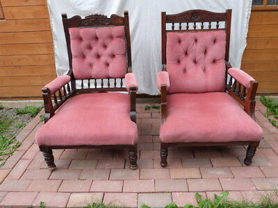 Two Lovely Antique Victorian Carved & Upholstered Button Back Open Armchairs.