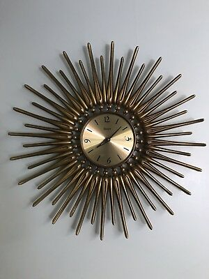 Vintage Beautiful And Large GOLD STARBURST WALL CLOCK Syroco Battery Atomic MCM