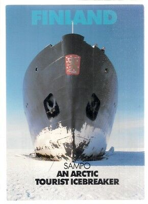 SAMPO, AN ARTIC TOURIST ICEBREAKER, FINLAND  unused vintage postcard c. 1980s