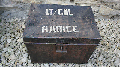 Vintage Antique Metal Trunk Shabby Chic Military Box Dublin Made Retro