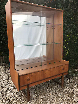 Vintage Retro Danish Style Mid Century Teak Bookcase Shelving Unit Glass Shelves
