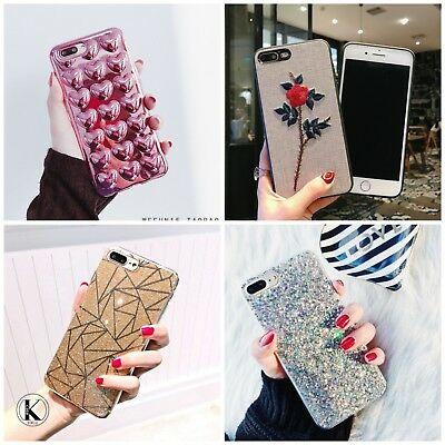 Bling Glitter Cute Phone Case Protective Cover for Girls For iPhone Xs 7 8 Plus