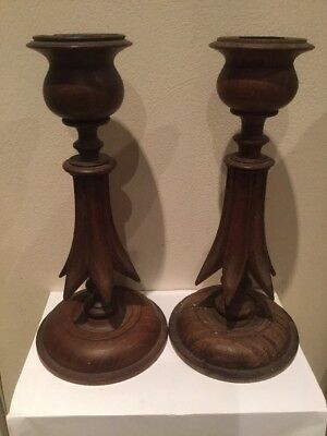 pair of old wood candle sticks
