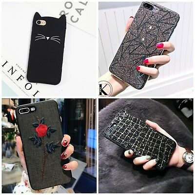 Bling Black Glitter Cute Phone Case Protective Covers For iPhone 7 8 Plus X Xs