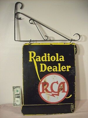 1920's~RADIOLA DEALER~RCA~RADIO CORP. OF AMERICA~2 SIDED FLANGED PORCELAIN SIGN~