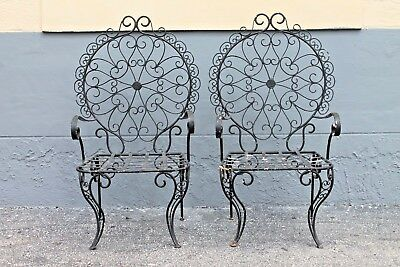 PAIR VERY HIGH END HEAVY IRON PATINATED [black] MID CENTURY GARDEN/ PORCH CHAIRS