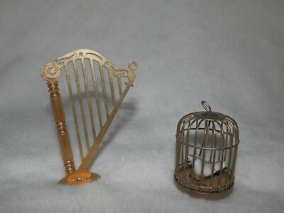 Vintage Dollhouse Miniature Brass Bird Cage and Harp Doll House