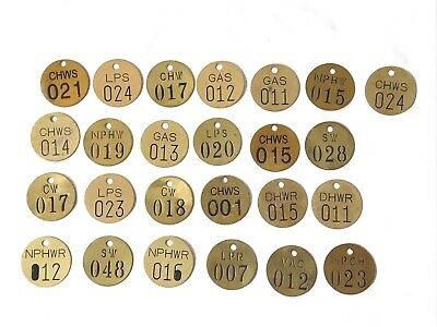 Vintage Lot of 25 Brass Metal Number Round Tags Hotel Key Coat Check Gas Utility